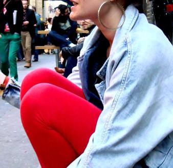 Big earings + more jean jacket (Bricklane)