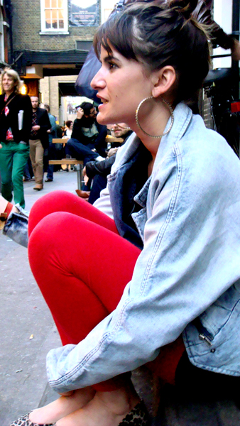 Big earings + more jean jacket (Bricklane)