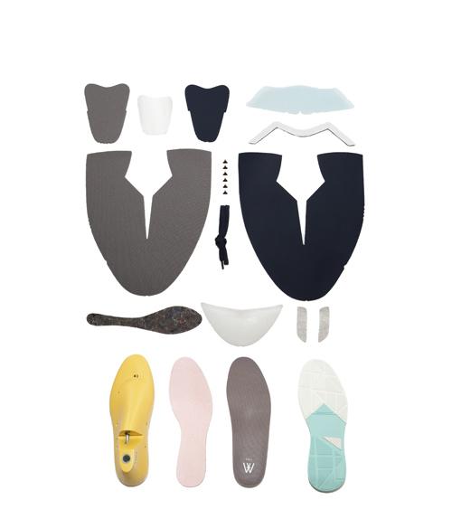 la zapatilla desglosada en piezas