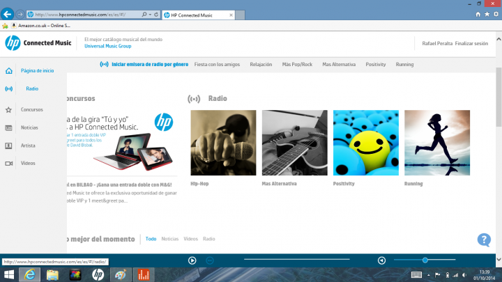 hp connected music web
