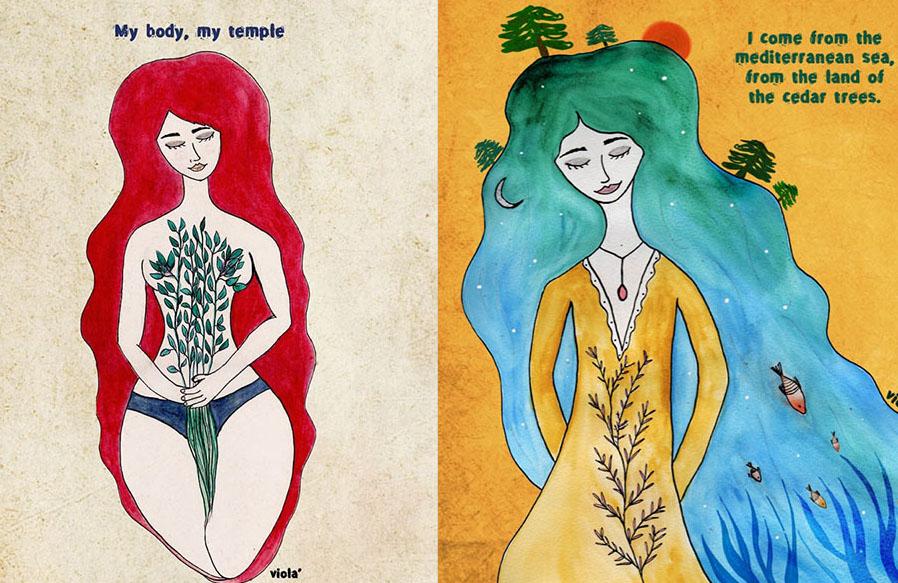 viola ilustración nadine Feghaly